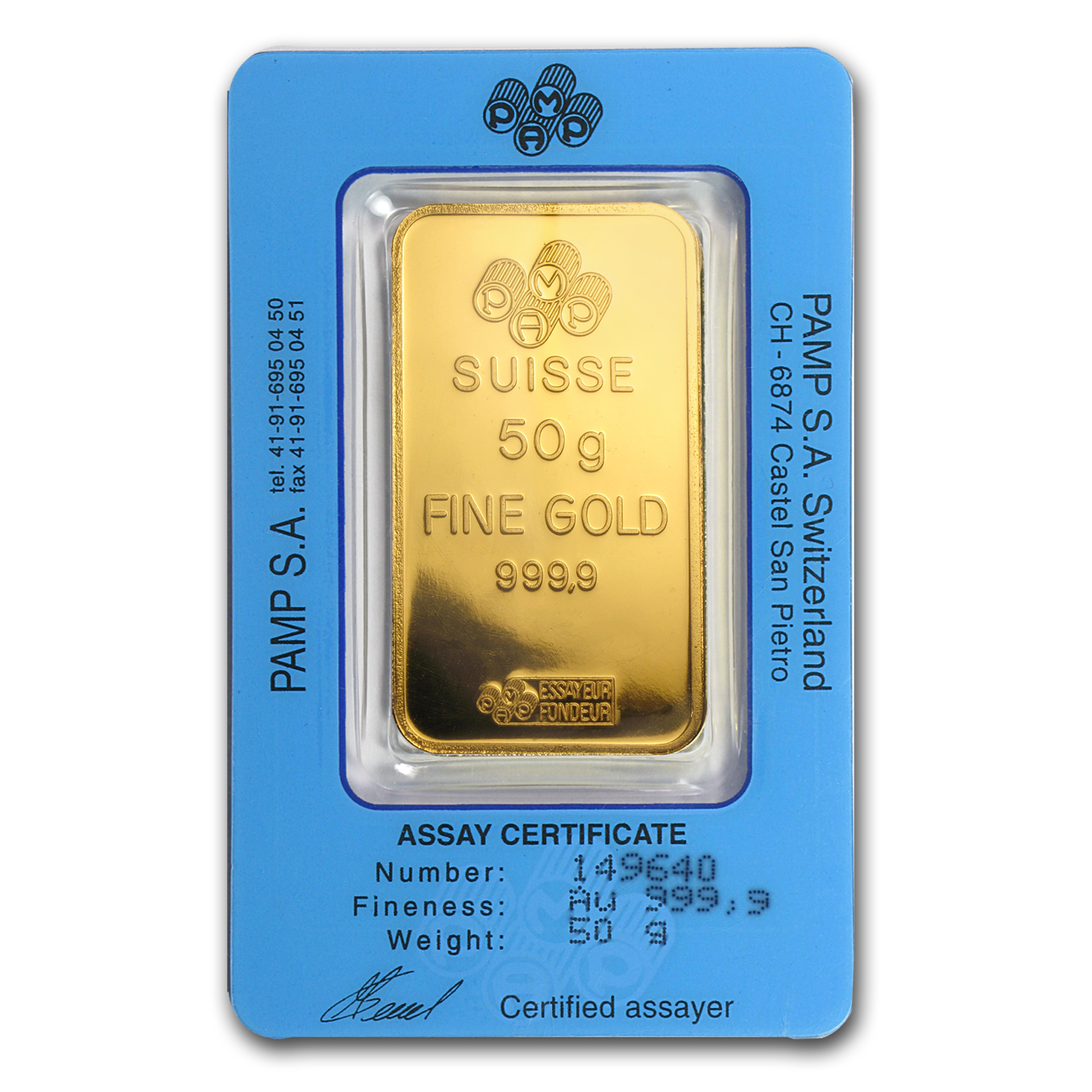 50 gram Gold Bars - Pamp Suisse (Pressed)